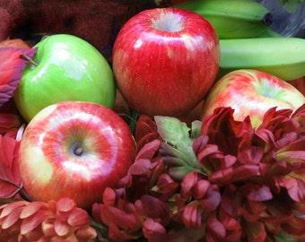 Autumn Apples Photo, Fruit Art Print, Rustic Fall Decor, Apples and Mums Art, Cottage Wall Decor, Thanksgiving Decor, Fall Harvest Photo