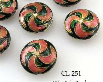 Cloisonné Beads Salmon Pink Swirl Puffy Coin Bead 20mm (CL 251) blueecho 3pcs