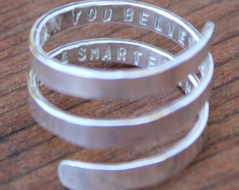 Secret Message Spiral Quote Ring - Hand stamped and personalized sterling silver spiral ring