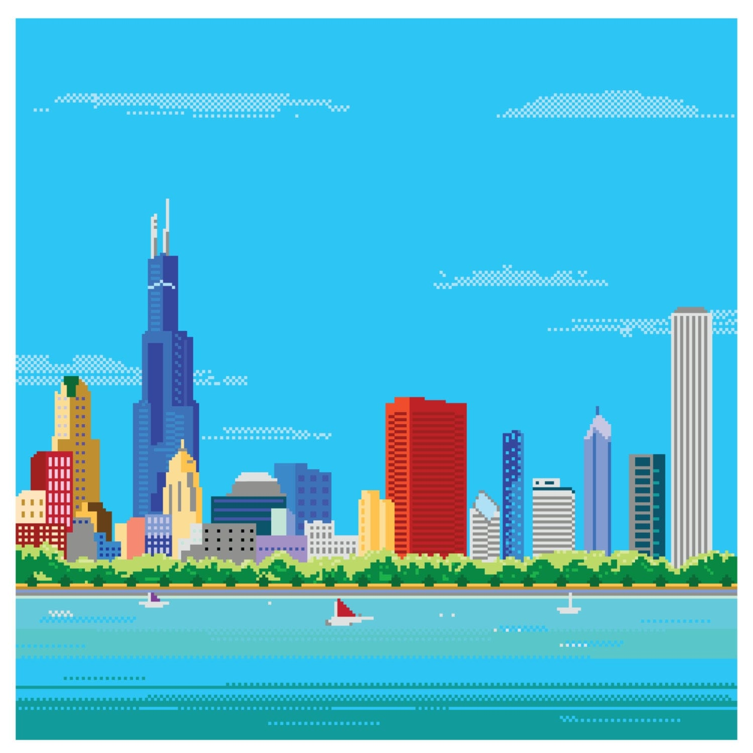 8-bit Chicago Skyline Pixel Art Print By TheDailyRobot On Etsy