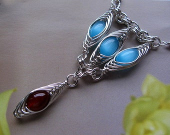 Handmade Sterling Silver Necklace, Wire Wrapped Turquoise Blue Amber Red Pendant