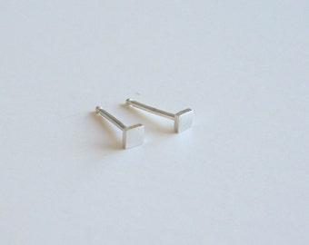 Silver Square Post Earrings, Tiny Earrings, Silver Earrings, Stud Earrings, Post Earrings, Small Earrings, Minimal Earrings, Handmade
