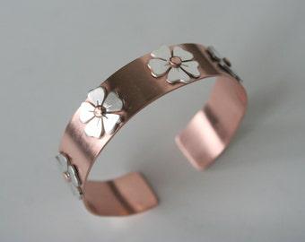 Copper Cuff, Copper Bracelet, Copper Jewelry, Silver Flowers, Flower Bracelet, Rustic Jewelry, Metalwork, Natural Copper, Handmade Cuff
