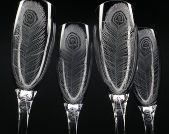 Four Champagne Flutes 'Peacock Feathers' Hand Engraved Weddings Shower Gift Peacock Wedding