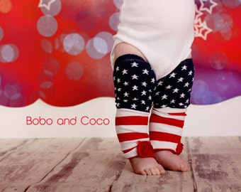 Fourth of JULY Stars and Stripes Embellished BABY Girl Leg Warmers Newborn to Toddler