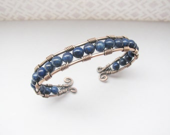 Copper and Dark Blue Lapis Wire Wrapped Cuff Bracelet