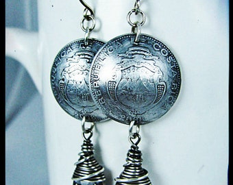 Costa Rican Colones with Wire Wrapped Silver Night Swarovski Crystal Briolettes