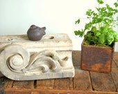SALE Terracotta Carved Leaf Garden Architectural Salvage Fragment Shabby Chic