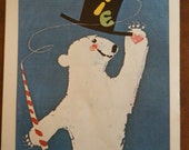 Polar Bear in a Top Hat Vintage Circus Poster - Poster Size Vintage Book Plate