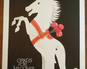 Vintage Circus Poster - Half Horse Half Elephant Vintage Poster Size Book Plate 1971