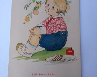 1917 LITTLE TOMMY TUCKER Margaret Evans Price Illustration and Rhyme to Frame