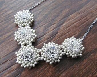 SNOWFLAKE-Swarovski Crystal Beadwork Chevron Bridal Necklace