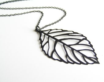 LEAF Matte Black Long Necklace