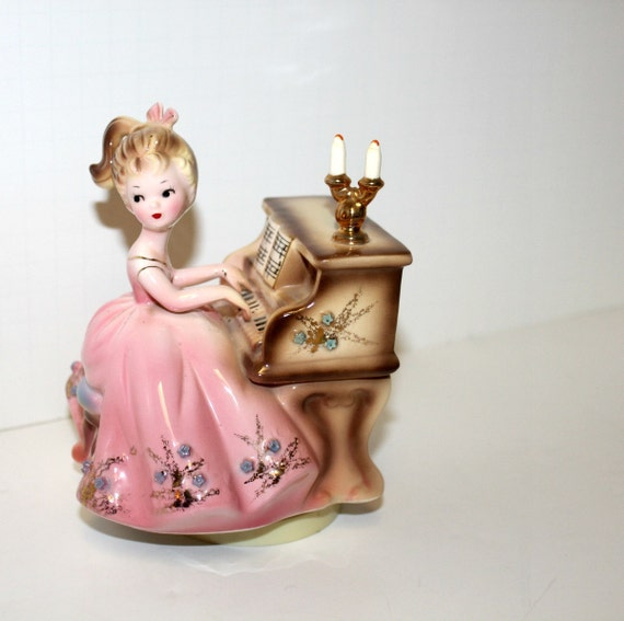 Vintage Josef Originals Piano Girl Music Box Figure Figurine