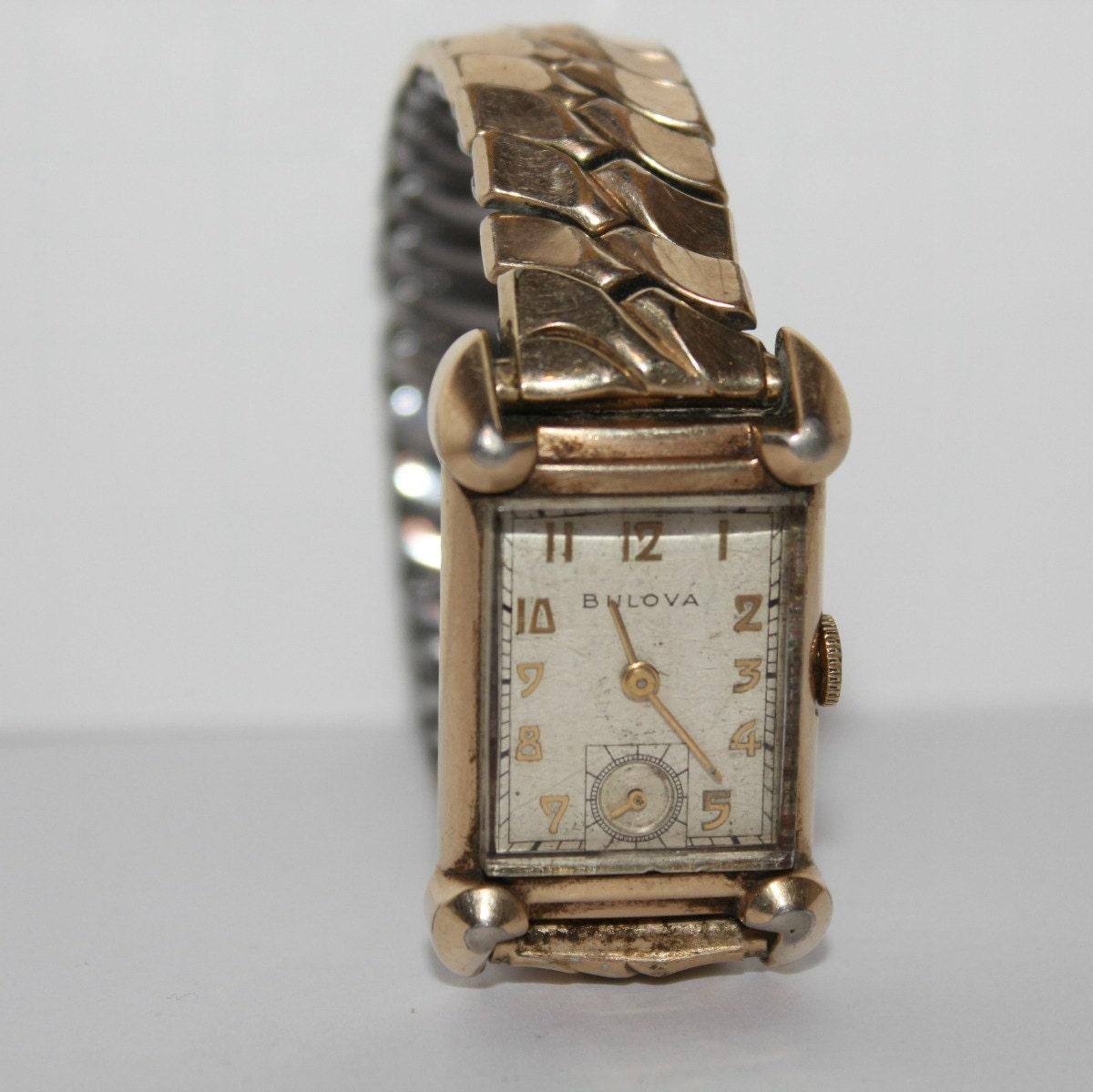 Vintage Mens Bulova Watch Wristwatch Art Deco Benrus Band 10K