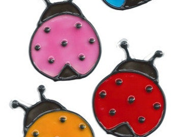 Colorful Ladybugs Window Cling Set