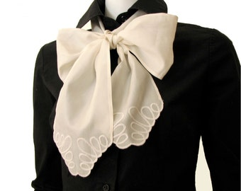 Embroidered Narrow Silk Bow-Tie Scarf Spring Summer Accessory