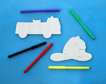 Firefighter Party Favors - Kids Wood Puzzles - Package of 10 Firetruck Puzzles with Markers - Great for Childrens and Toddler Party Activity