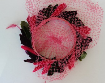 Gorgeous Velvet  Feather and Netting Famous Barr Hat Pink Green and Purple