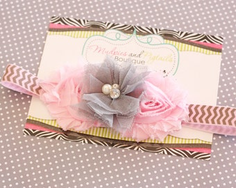 Pink Gray shabby baby Headband { Carly } Chevron easter bunny, spring baby girl headband, Cake Smash, shabby flower,  photography prop