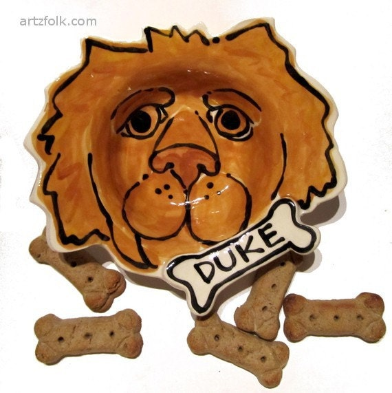 Custom portrait Dog Bowl personalized free any dog pottery dish medium