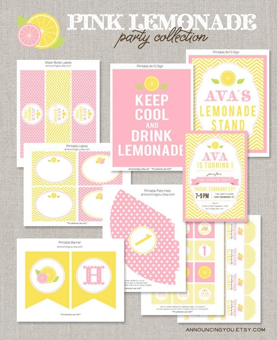 Printable Pink Lemonade Birthday Collection DIY By