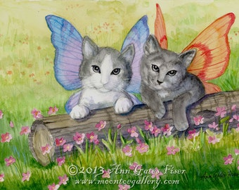 Fairy Kittens- A  Signed Fantasy Glicee Print
