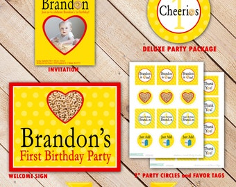 1st Birthday Cereal Party Decorations - Printable Party Package - Invitation - Thank you card - Cupcake Topper - Birthday Banner