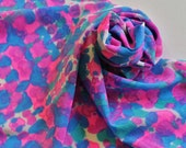 SALE Hand Painted Silk Scarf - Handpainted Scarves Hot Pink Fuchsia Magenta Sapphire Blue Turquoise White