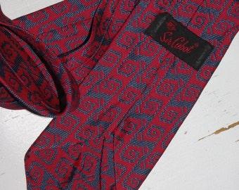 SIR CABOT Retro RED  Zig Zag Necktie