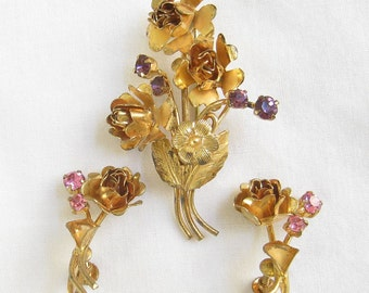 Vintage Signed Austria Pink and Purple Rhinestones Flower Pin and Earrings Set or Demi Parure.