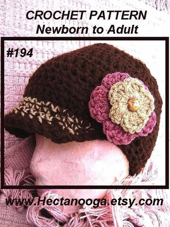 Crochet Pattern hat num 194, Unisex chunky style newsboy or beane hat, all sizes Newborn to Adult