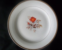Vintage Ravishing Rose Decorative Plate 22-karat Gold Edging Triumph American Limoges Vermillion Rose