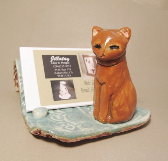 Kitty cat business card holder minature figurine art by for Cat business card holder