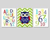 Alphabet, Chevron Owl, Numbers Nursery Art Trio - Set of Three 11x14 Prints - Kids Wall Art - CHOOSE YOUR COLORS