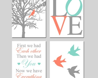 Modern Bird Tree Love Quad - Set of Four 8x10 Nursery Prints - First We Had Each Other... Now We Have Everything - CHOOSE YOUR COLORS