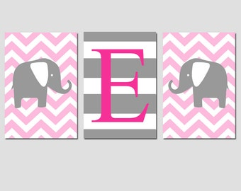Nursery Art Trio - Set of Three 11x17 Prints - Striped Initial and Chevron Elephants - CHOOSE YOUR COLORS - Shown in Light Pink and Gray