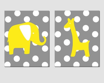 Elephant Giraffe Nursery Art Duo - Set of Two 11x14 Polka Dot Prints - CHOOSE YOUR COLORS - Shown in Lemon Yellow and Gray