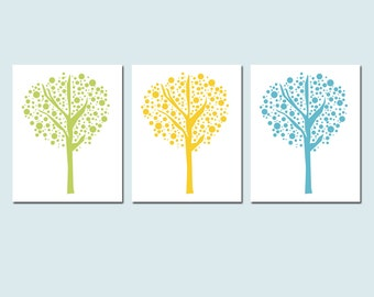 Tree Dot Trio - Set of Three 8x10 Prints - Modern Nursery Decor - Kids Wall Art - Nature, Cute, Whimsical - CHOOSE YOUR COLORS