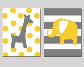 Elephant Giraffe Nursery Art - Set of Two 11x14 Prints - Polka Dot Giraffe Stripe Elephant - CHOOSE YOUR COLORS - Shown in Yellow, Dark Gray