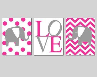 Modern Elephant Nursery Trio - Set of Three 8x10 Prints - Polka Dot Elephant, Love Typography, Chevron Elephant - CHOOSE YOUR COLORS