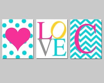 Kids Wall Art Girl Nursery Decor Trio - Set of Three 8x10 Prints - Polka Dot Heart, Love, Chevron Monogram Initial - CHOOSE YOUR COLORS