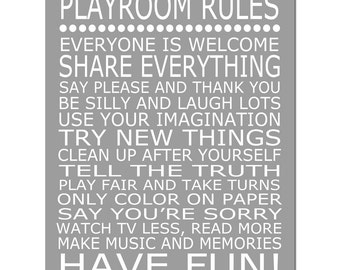 Playroom Rules - 11x14 Quote Print - Modern Nursery Childrens Decor - Kids Wall Art - Choose Your Colors