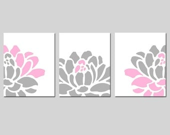 Floral Flower Wall Decor Nursery Art Trio - Set of Three 8x10 Prints - CHOOSE YOUR COLORS - Shown in Gray, Pink, Yellow and More