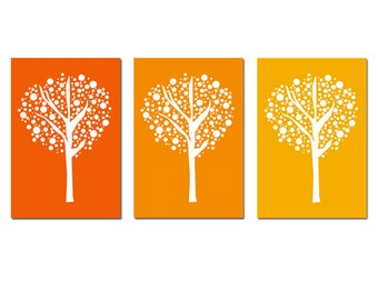 Tree Dot Trio Modern Nursery Art Decor - Set of Three 13x19 Prints - CHOOSE YOUR COLORS - Shown in Yellow Orange and More