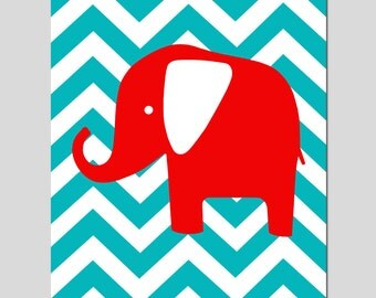 Chevron Elephant Silhouette Print - 11x14 - Nursery or Kids Wall Art - CHOOSE YOUR COLORS - Shown in Turquoise, Red, Hot PInk, and More