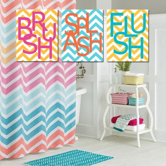 Kids Bathroom Wall Art Print Set Of Three 11x14 Chevron By