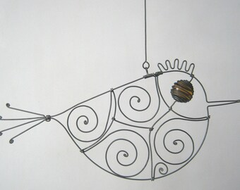 Wire Sculpture Amber Brown - Eyed Metal Bird