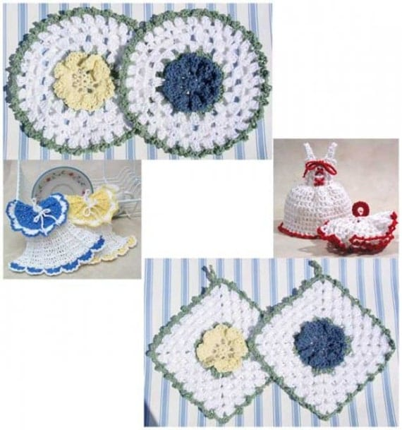 Free Crochet Patterns Kitchen Accessories : Vintage Dishcloths and Potholders Crochet Pattern PDF