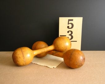 Vintage Wood Barbell Exercise Equipment Antique Dumbbells
